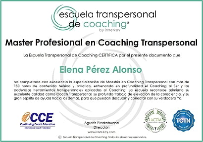 Master Profesional en Coaching Transpersonal & IE - diploma - Innerkey Coaching