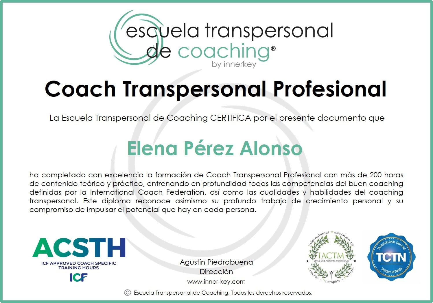 Coach Transpersonal Profesional & IE - diploma - Innerkey Coaching