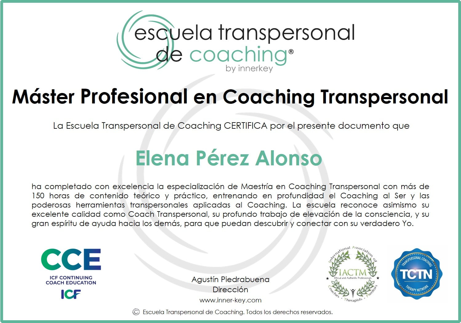 Máster Profesional en Coaching Transpersonal & IE - diploma - Innerkey Coaching