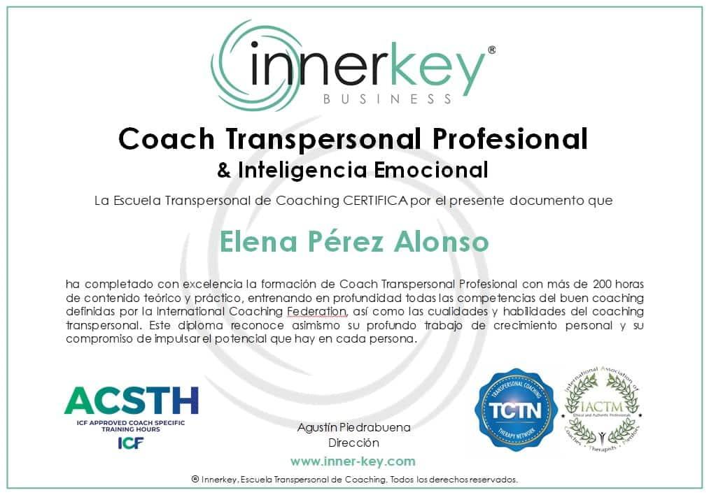 Coach Transpersonal Profesional & IE - diploma - Innerkey Coaching