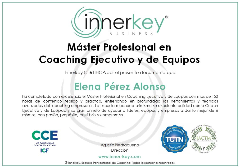 Máster Profesional en Coaching Ejecutivo y de Equipos - diploma - Innerkey Coaching